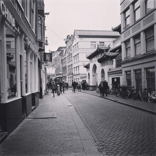Amsterdam Chinatown Stores Street Blackandwhite