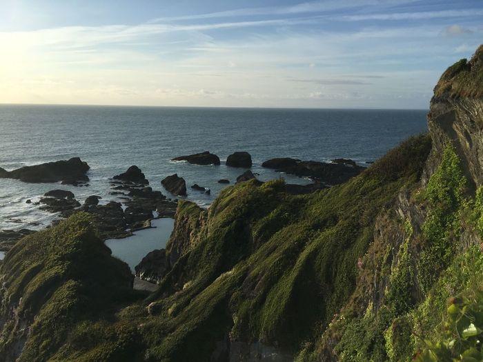 Coastline Geology Horizon Over Water Ilfracombe Ilfracombe, Devon. Ocean Rock Formation Water