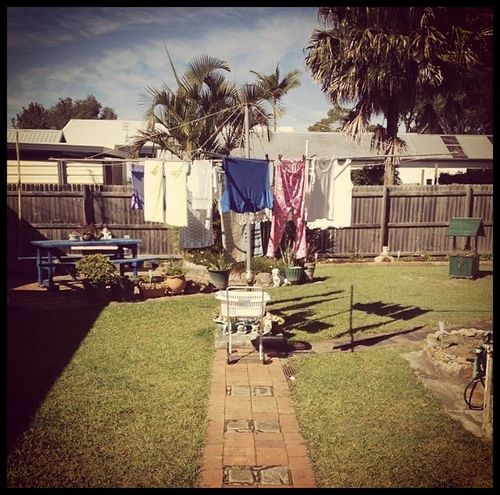 Barbs's Washing Aussie Backyard Washing Tree Day Palm Tree Outdoors Building Exterior Grass Hanging