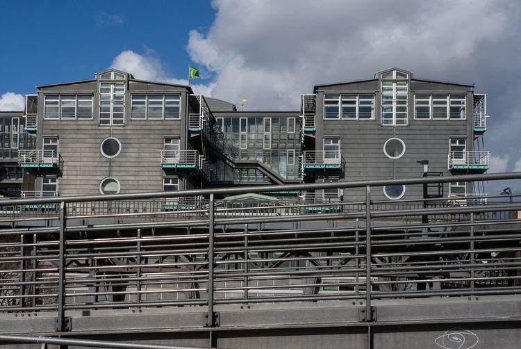 Office buildings of Gruner & Jahr in Hamburg. Architecture Grey Hamburg No People Office Building Railing Sky Stadtbahn