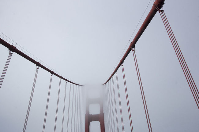 Taken whilst driving on the Golden Gate Bridge in California. Bridge Fog Foggy Golden Gate Golden Gate Bridge Hanging Looking Up Low Angle View Minimal Minimalism Modern Red Red Bridge San Fransisco SF Showcase: February Structure