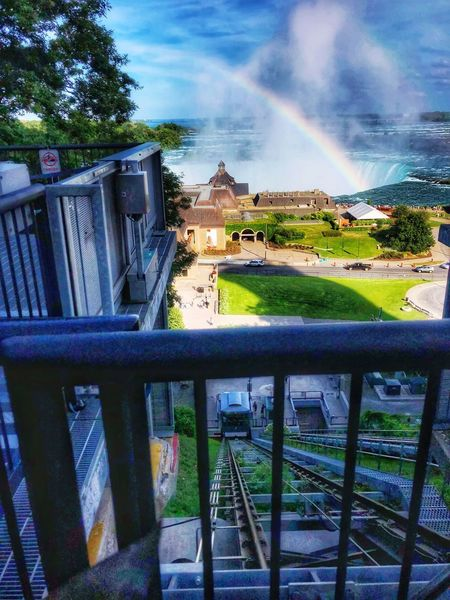 Funicular down to the Horseshoe Falls Cascading Water Rainbow Sky Funicular Travel Destinations Travel Photography Tourist Attraction  EyeEmNewHere Natural Beauty Waterfalls Niagara Falls Canada Horseshoe Falls Plant Tree Architecture Built Structure Sky Cloud - Sky Nature Water Day Railing Rainbow Outdoors Building Park - Man Made Space Grass Park