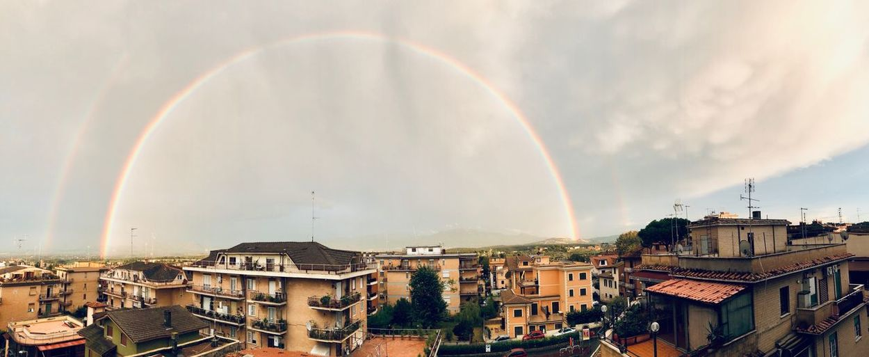 Perfect Rainbow EyeEm Selects Building Exterior Architecture Built Structure City Sky Cloud - Sky Rainbow Nature Multi Colored Day Double Rainbow City Life Arch Beauty In Nature First Eyeem Photo