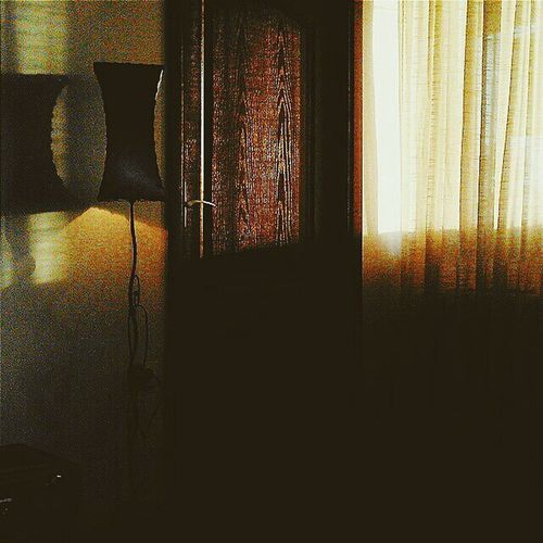 View of window in dark room
