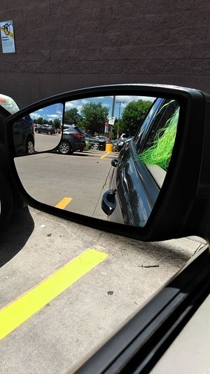 Dillions Parking Lot Photography Looking In The Mirror Land Vehicle Car Reflection Mirror Close-up Vehicle Mirror Side-view Mirror Car Point Of View Vehicle