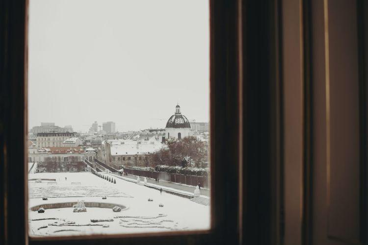 Museum Vienna Sightseeing Travel Destinations Travel City Cityscape Snow Cold Temperature Winter Urban Skyline Skyscraper Window Looking Through Window Architecture