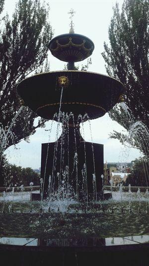 Water Fountain Wet Splashing Drop Spraying Outdoors