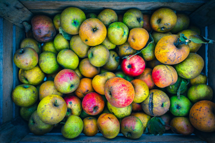 High angle view of apples for sale