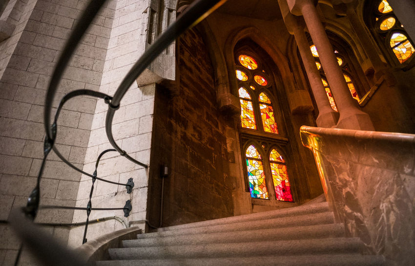 Stairway to heaven: inside beautiful Basílica de la Sagrada Família. Architecture Barcelona Basilica Catalunya Church Colors Colours Gaudi God Heaven SPAIN Stairs Stairway Architecture Photography Blessed  Built Structure Fujifilm Holy Indoors  Modernism Place Of Worship Sagrada Familia Spirituality Stairways Window