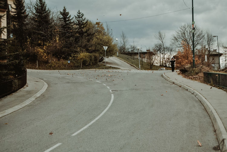 Day No People Nature Outdoors Bosnia And Herzegovina Sarajevo Streetphotography Street Street Photography Autumn Autumn colors autumn mood Canonphotography Canon Road Transportation Tree Direction Plant The Way Forward Sky Symbol Sign City Empty Road Cloud - Sky Curve Empty Road Marking Diminishing Perspective Dividing Line