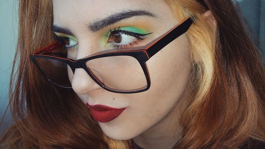 Color Hungry Inner Power Glasses Makeup Art Color Eyelash Human Lips Red Lipstick Young Women Beautiful Woman Beauty Portrait Women Red Beautiful People Inner Power EyeEmNewHere