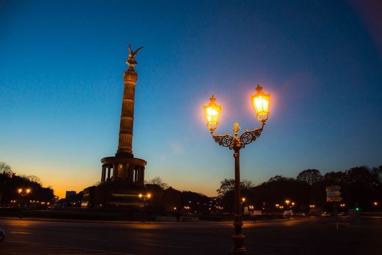 Architecture Architecture_collection Beauty In Nature Berlin Berlin Photography Blue Hour City Illuminated Light Nature No People Outdoors Reflection Sky Statue Sunset Victory Column Capture Berlin