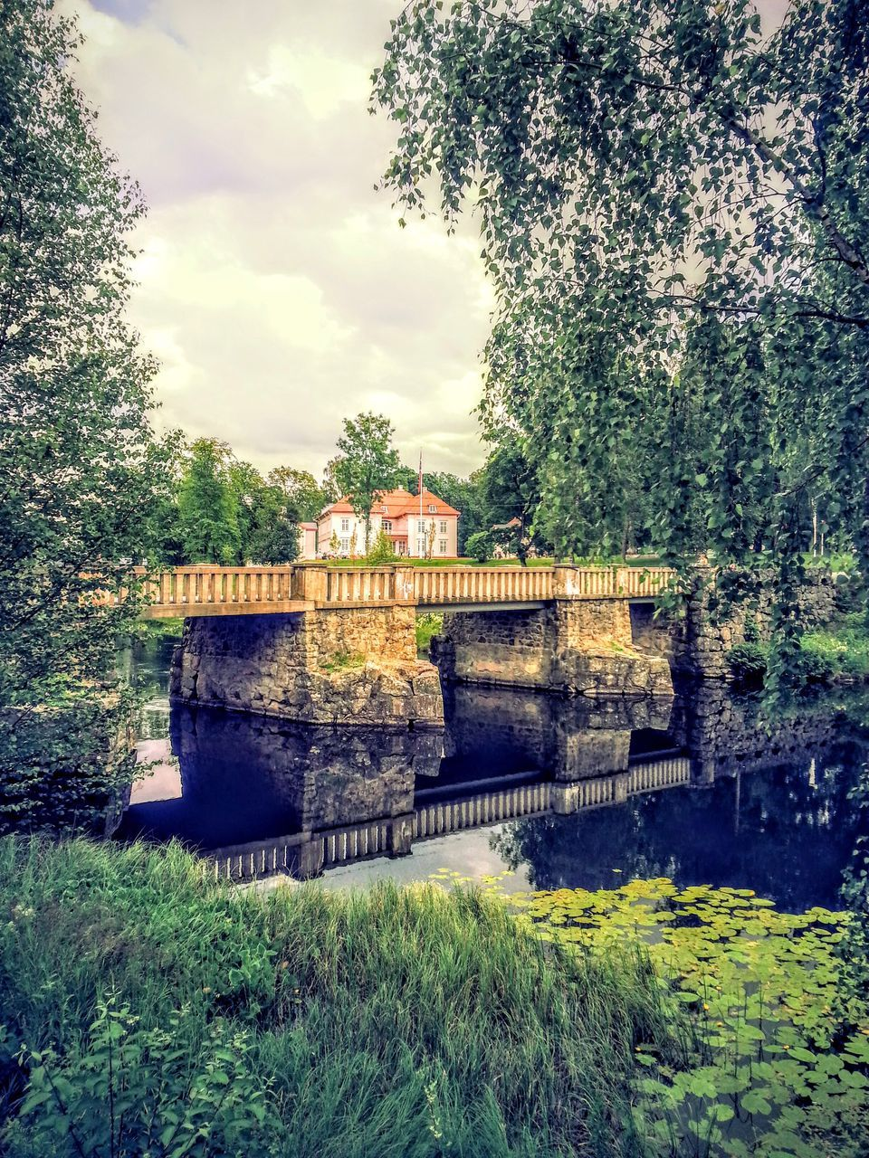 architecture, built structure, tree, no people, day, bridge - man made structure, connection, outdoors, green color, cloud - sky, sky, building exterior, water, nature, beauty in nature