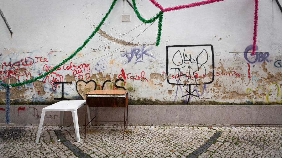 Alfama Architecture Built Structure Calzada Graffiti Grass Multi Colored Offseason Table Taking Photos