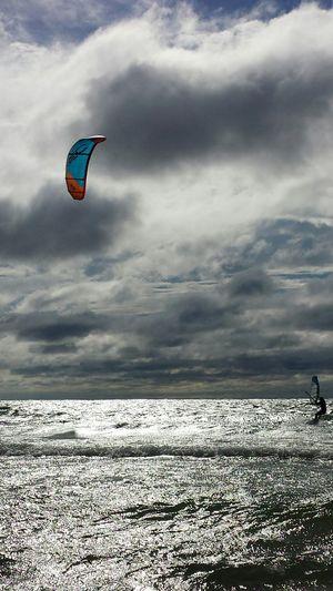 St. Joseph, Michigan Lake Michigan Parasailing Outdoors Enjoying Life Beauty Michigan Boats⛵️ Sky And Clouds Beach Great Lakes