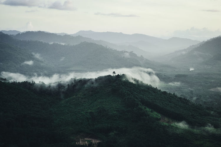 High angle view of the mountains and fog after the rain