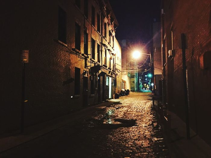 Architecture Illuminated Night Building Exterior Built Structure Wall Lamp The Way Forward Street Light No People Residential Building Outdoors City Alley Low Angle View Noir Hoboken Mysterious Mystery