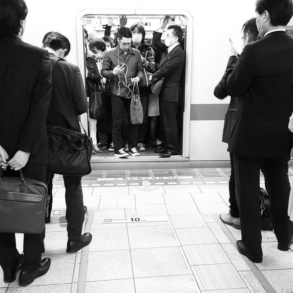 daily commute Black And White Commute Crammed Crowded Peak Hour Tokyo Train Waiting In Line