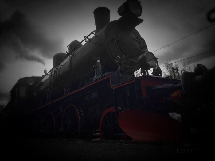 Steam Train Locomotive Low Angle View Blackandwhite