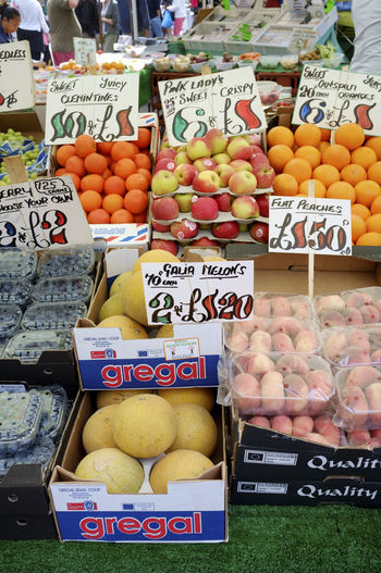 Fresh fruit for sale on UK market stall with prices Abundance Arrangement Box Boxes Business Choice Display Displayed Food Food And Drink For Sale Freshness Fruit Healthy Eating Large Group Of Objects Market Market Stall Pounds Price Prices Retail  Shopping ♡ Stirling Uk Value Variation