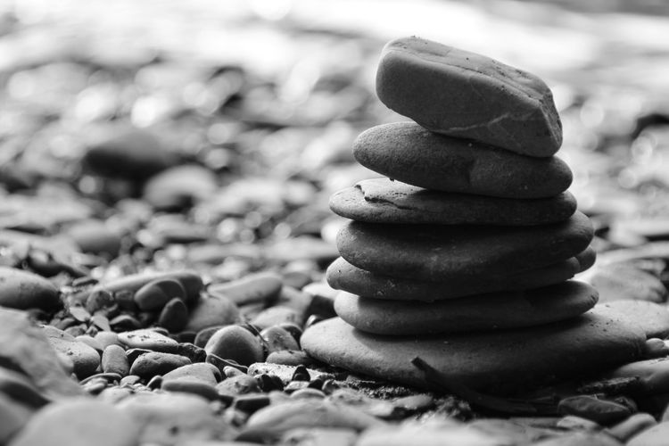 Close-up of pebbles on stones