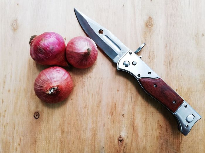 Knife feat Onions. Wood Red Onions Knife Wood - Material Close-up Still Life First Eyeem Photo