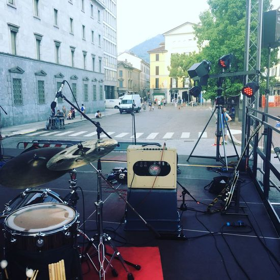 Day Outdoors Musician Music Stage Stage - Performance Space Musical Instrument Guitar Guitarist Drum Drummer Soundcheck Soundchecking Square Live Summer Microphone