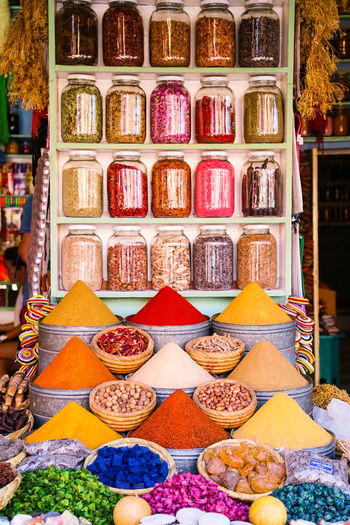 Close-up of multi colored store for sale in market