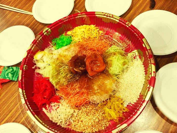 Random Exploring Chinese New Year Raw Fish Taking Photos Yusheng Indoors  Food Food And Drink Plate Table Freshness Bowl Healthy Eating Ready-to-eat Close-up