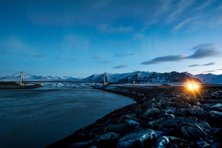 Bridge Over Jökulsárlón During Winter At Night