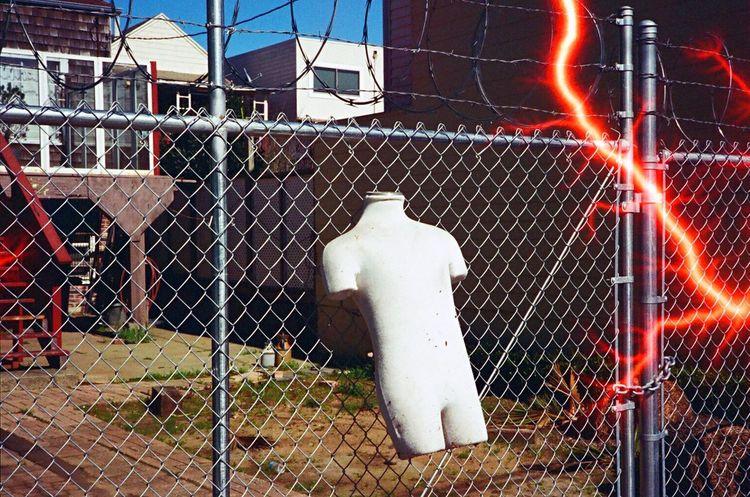 Chainlink Fence Tesla Film Leica M6 Koduckgirl Film Revolog Experimental Film Lightening Effect Shirt Form