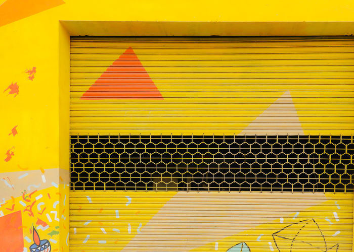 India Colourful Vibrant Color Streetphotography Street Art Street Graffiti Graffiti Beautiful Yellow Technology Shutter Building Closed Architectural Detail Exterior Door Locked Window Box Textured