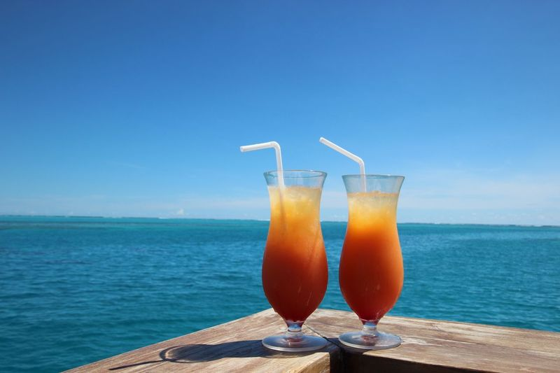 Drink Horizon Over Water Sea Freshness Food And Drink Refreshment Healthy Eating Drinking Glass No People Clear Sky Drinking Straw Orange Juice  Day Nature Outdoors Sky Sommergefühle