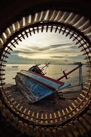 abandoned fishing boat Fishing Boat City Beach Sunset Close-up Sky