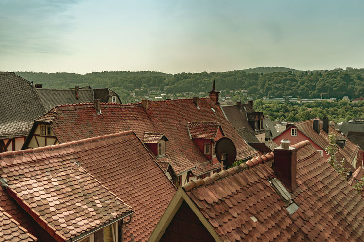 Architecture Roof Built Structure Building Building Exterior Roof Tile Residential District House Sky Nature Day Town High Angle View No People Mountain Outdoors City Old Tree Human Settlement TOWNSCAPE Altstadtdächer Marburg An Der Lahn Ziegeldächer Retro Styled