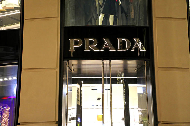 Prada store Text Glass - Material Western Script No People Window Transparent Architecture Illuminated Communication Reflection Indoors  Entrance Built Structure Door Night Store Sign Prada Pradahouse Prada Store Fashion Fashion Store Miuccia Prada PradaGlasses Prada Marfa