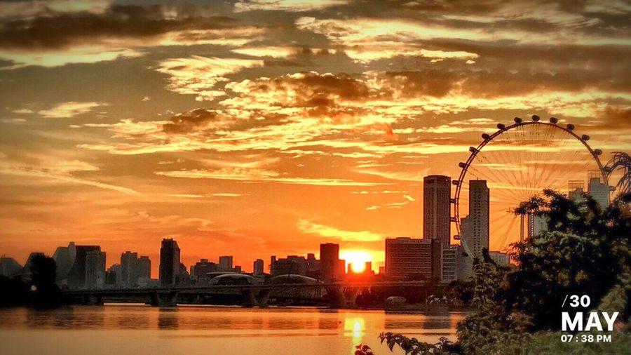 Sunset Collection Cloud - Sky Cityscape Outdoors Urban Skyline Water Orange Color Sunset #sun #clouds #skylovers #sky #nature #beautifulinnature #naturalbeauty #photography #landscape