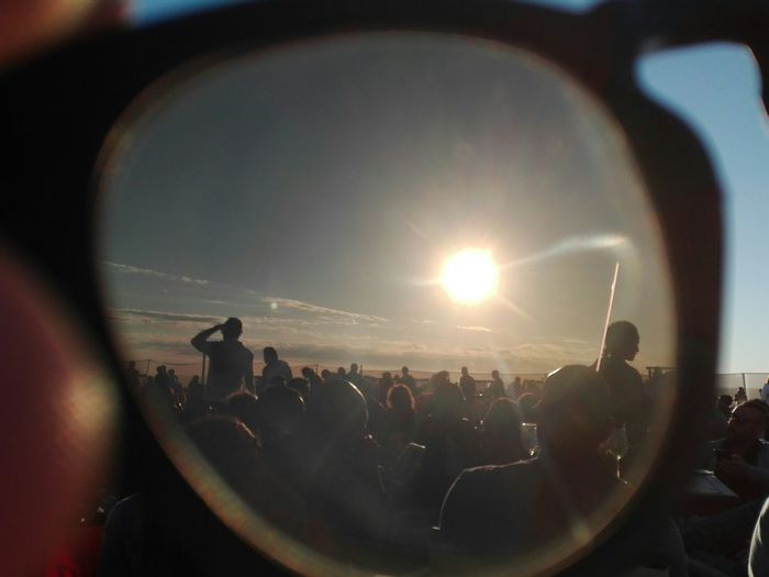 EyeEmNewHere Beach Summer People Shades Through The Lens Through Lens Glasses Sun Nofilter Fun Entertainment Excitement Summer People Seaside Silhouettes Crowd