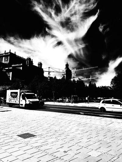 Transportation Cloud - Sky Outdoors Sky Road City Bnw_friday_eyeemchallenge Bnw_street