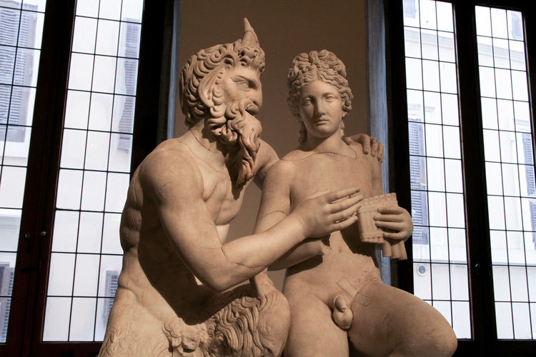 Marble statue of pan and daphni, national roman museum, palazzo altemps