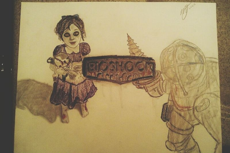 A Bioshock drawing I did a while back. { Drawing Sketch ArtWork My Art Big Daddy Little Sister }