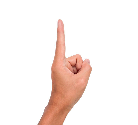 Hand sign of one, first, up, etc. with white background Communication Conceptual First Gestures Human Finger Message Nails One Palm Sign Symbol Thumb Up Wrist