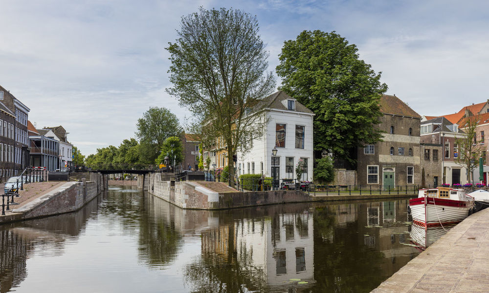 The river Schie flows through Schiedam, nearby Rotterdam, The Netherlands. Cityscape Day Medieval No People Outdoors River The Schie Water First Eyeem Photo