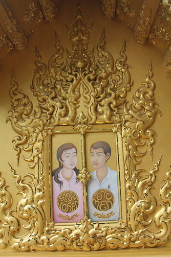 Thailand Thailand_allshots Thailandtravel Thailand Photos Thailand🇹🇭 Temple - Building Templephotography Buddhism Buddhist Temple BUDDHISM IS LOVE Chiang Mai | Thailand Chiangmai Chiang Mai Thailand Human Representation Art And Craft Male Likeness Religion Representation Spirituality Belief Sculpture Female Likeness Indoors  Architecture Statue Craft No People Place Of Worship Built Structure Pattern Creativity Gold Colored Ornate Angel Floral Pattern Altar