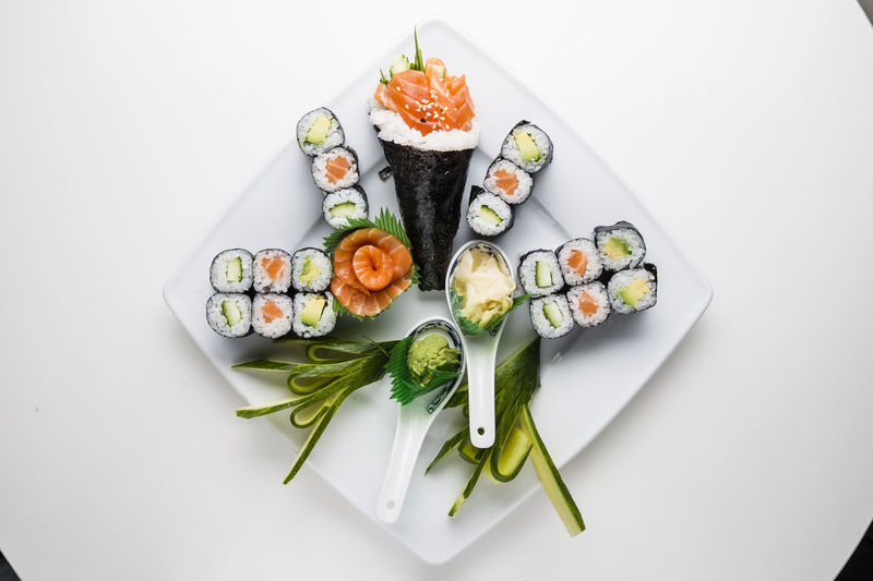 High angle view of sushi served on plate