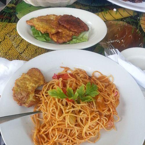 FriedPlantain SpaghettiCreole Haitianlunch Foodformystomach foodporn foodgasm food miami vacation