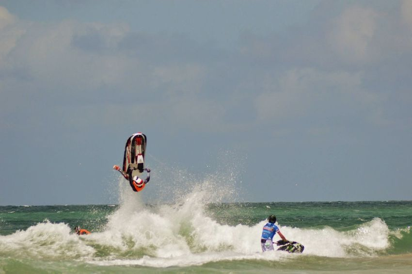 Jet Skiing Acrobatics  Sport Fun Sport Adrenaline Junkie Fun Expertise Wetsuit Waves, Ocean, Nature Waves Breaking Water Motion Speed RISK People Surfing Sport Leisure Activity Challenge Adventure Extreme Sports Aquatic Sport