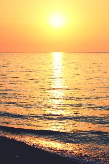 Sunset Sea Scenics Sun Nature Orange Color Sunlight Wave Beach