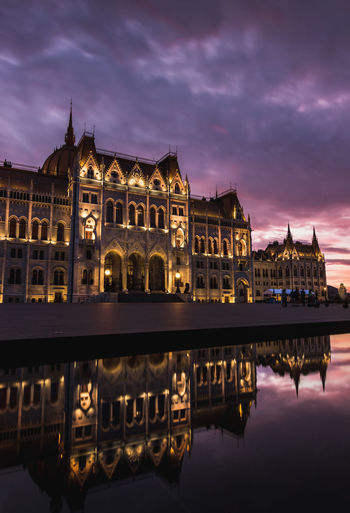 hungarian parliment building from behind, kossuth square at a colorful sunset Reflection Architecture Sky Built Structure Building Exterior Water Cloud - Sky Waterfront Dusk Illuminated Building Nature Travel Destinations The Past History Sunset No People River City Outdoors Parliment Capital Cities  Tourist Attraction