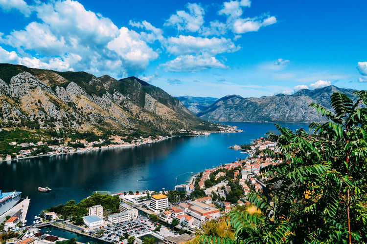 View from the mountain to the bay of Kotor, Montenegro Beauty In Nature Blue Cloud - Sky Day High Angle View Idyllic Lake Mountain Mountain Range Nature Nautical Vessel No People Outdoors Scenics Sky Tranquil Scene Tranquility Travel Destinations Tree Water Waterfront First Eyeem Photo Summer Exploratorium